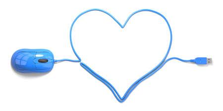 마우스와 흰색 배경에 심장의 형태로 케이블 스톡 콘텐츠