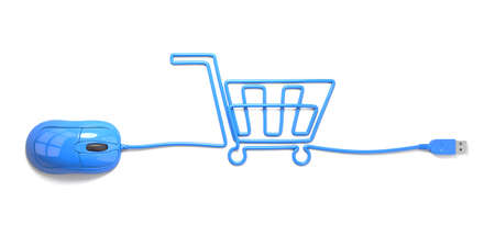 mouse and cables in form of shopping cart on a white background