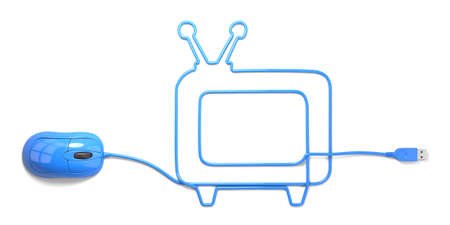 mouse and cables in form of television on a white background photo