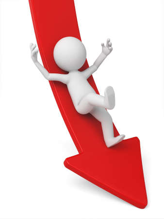 demotion: 3d person rolls down the red arrow. 3d image. Isolated white background. Stock Photo