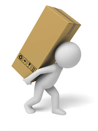 3d small people carrying cardboard boxes. 3d image. Isolated white background