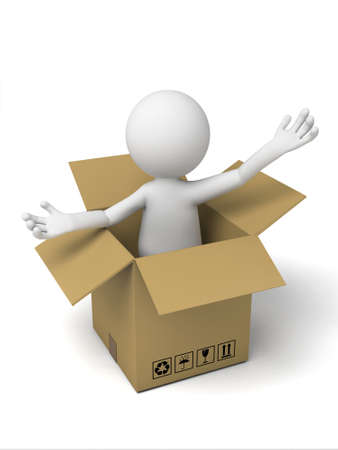 purchase order: 3d small people with a cardboard box. 3d image. Isolated white background