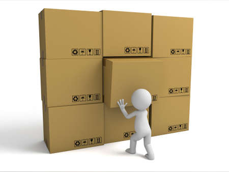 3d small people with stacking cardboard boxes. 3d image. Isolated white background