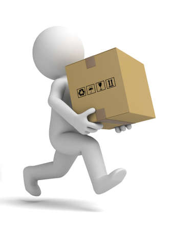 3d small people carrying a cardboard box. 3d image. Isolated white background photo