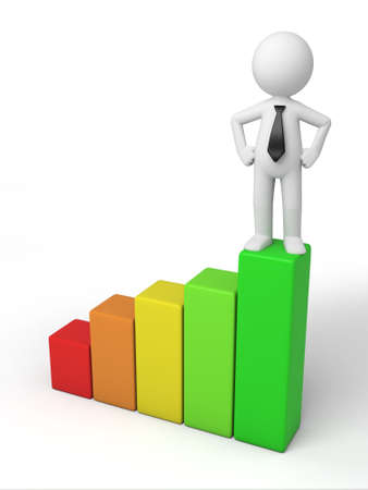 3d small person on a chart. 3d image. Isolated white background photo