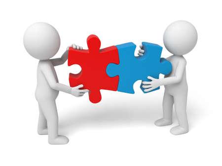 3 d の白人の人々 のチームを組み立てるパズルの 2 つのピース