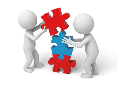 piezas de rompecabezas: 3d equipo de gente blanca ensamblar tres piezas de un rompecabezas