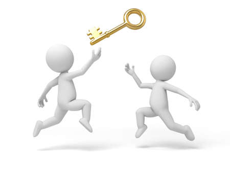 3d small person with a gold key. 3d image. Isolated white background