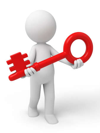 3d small person with a red key. 3d image. Isolated white background photo