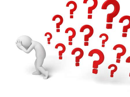 persona pensando: 3 � persona peque�a que piensa con una gran cantidad de signos de interrogaci�n. Imagen en 3D. Fondo blanco aislado