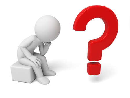 persona pensando: 3 � persona peque�a que piensa con un gran signo de interrogaci�n. Imagen en 3D. Fondo blanco aislado Foto de archivo