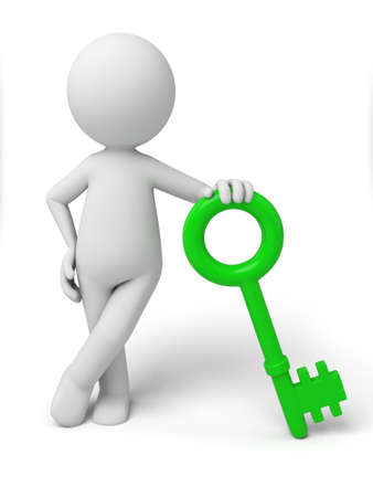 3d small person with a green key. 3d image. Isolated white background