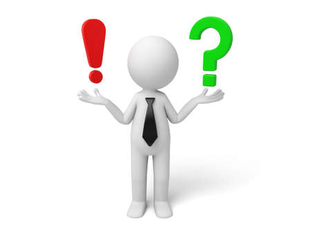 3d small person with a exclamation mark and question mark ,. 3d image. Isolated white background photo