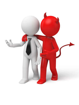 manager: Devil whispering to Businessman. 3d image. Isolated white background