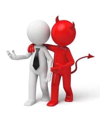 whispering: Devil whispering to Businessman. 3d image. Isolated white background