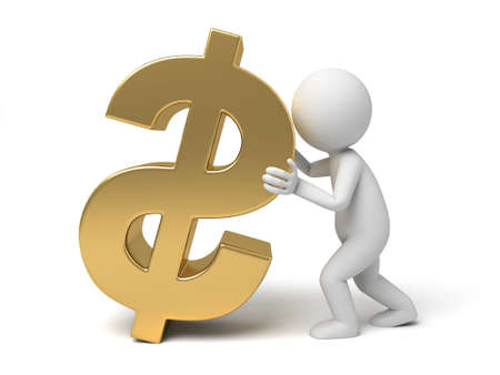 solvency: A small person with a Yen currency symbol. Stock Photo