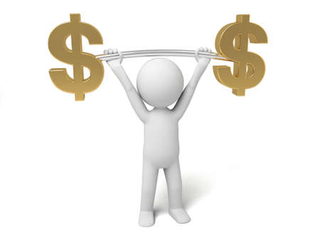 solvency: A small person lift a Yen currency symbol.