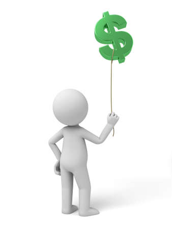 solvency: A small person with a green dollar currency symbol.