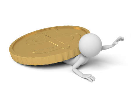 A small person pinned by a big coin. Stock Photo