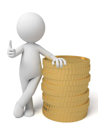 financier: A small person with a stack coins.