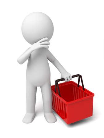 persona pensando: Un peque�o persona piensa con una cesta roja. Foto de archivo