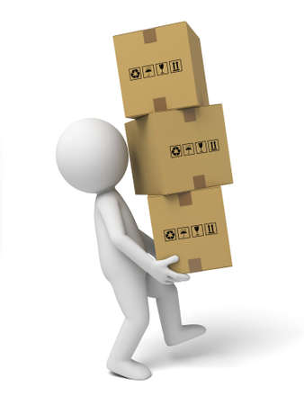 3d small people with some cardboard boxes. 3d image. Isolated white background