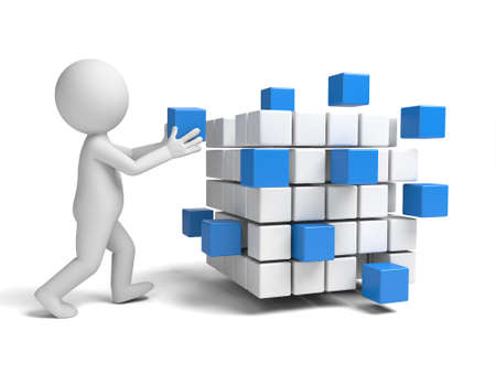 building construction: 3d small people with some cubes. 3d image. Isolated white background