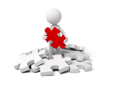 赤いパズルを保持している 3 d の小さい人。