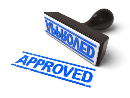 validity: A rubber stamp with APPROVED in blue ink. 3d image. Isolated white background. Stock Photo