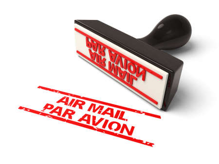A rubber stamp with air mail par avion in red ink.3d image. Isolated white background.