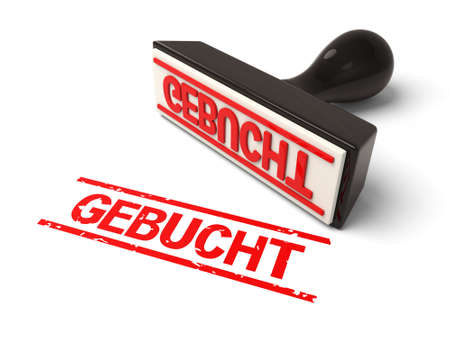 A rubber stamp with gutachten in red ink.3d image. Isolated white background.