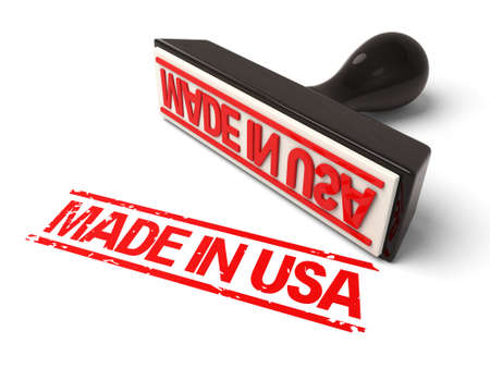 manufactured: A rubber stamp with made in usa in red ink.3d image. Isolated white background.