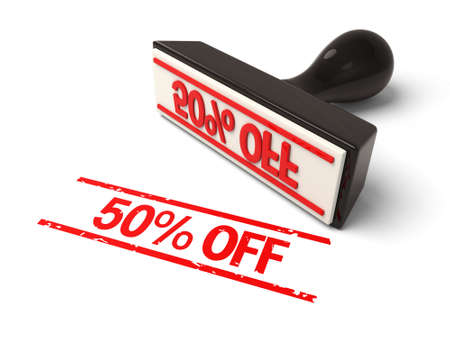 A rubber stamp with 50% off in red ink.3d image. Isolated white background. photo