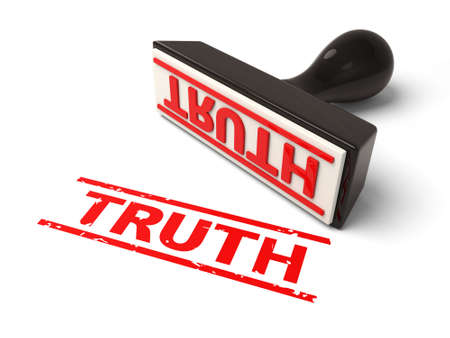 factual: A rubber stamp with truth in red ink.3d image. Isolated white background.