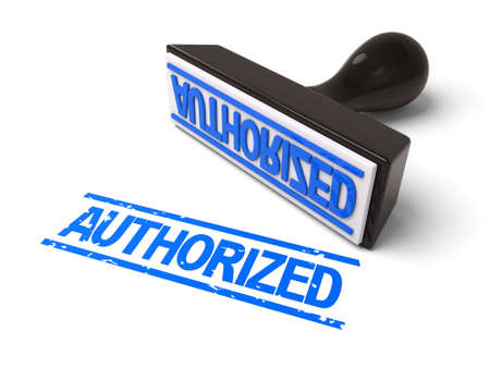 A rubber stamp with authorized in blue ink.3d image. Isolated white background.