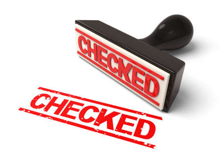 assured: A rubber stamp with checked in red ink.3d image. Isolated white background.