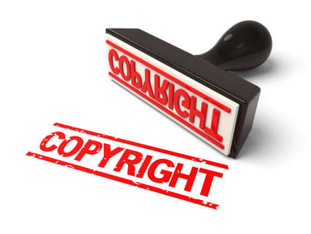 property rights: A rubber stamp with copyright in red ink.3d image. Isolated white background.