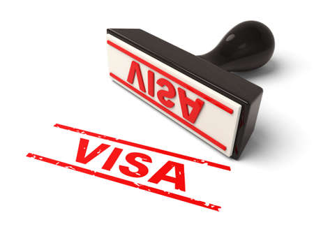 A rubber stamp with VISA in red ink.3d image. Isolated white background.
