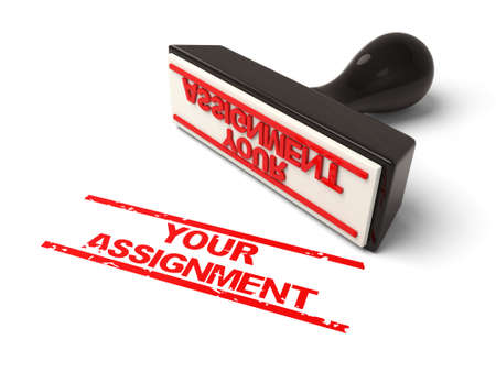 assignment: A rubber stamp with your assignment in red ink.3d image. Isolated white background.