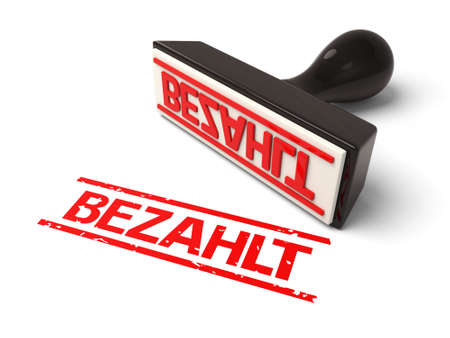 A rubber stamp with bezahlt in red ink.3d image. Isolated white background.