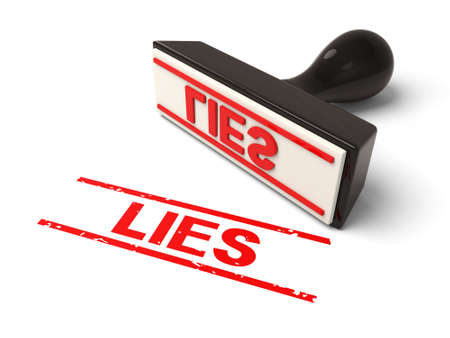 dishonesty: A rubber stamp with lies in red ink.3d image. Isolated white background. Stock Photo