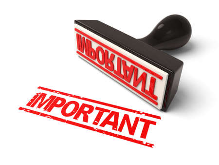 crucial: A rubber stamp with important due in red ink.3d image. Isolated white background.
