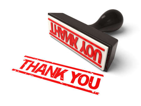 thankfulness: A rubber stamp with Thank you in red ink.3d image. Isolated white background.
