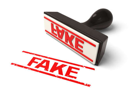 swindle: A rubber stamp with fake in red ink.3d image. Isolated white background.