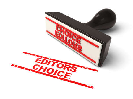 editor: A rubber stamp with Editors choice in red ink.3d image. Isolated white background. Stock Photo