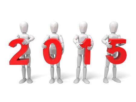 3d people with text and 2015. Isolated white background.
