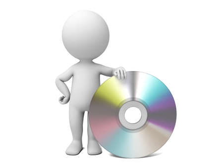 3d people with a CD. 3d image. Isolated white background. Stock Photo