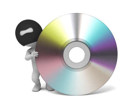 burglar man: 3d thief stealing  cd data. 3d image. Isolated white background. Stock Photo