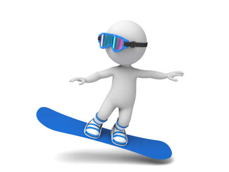 3d people on a snowboard. 3d image. Isolated white background.