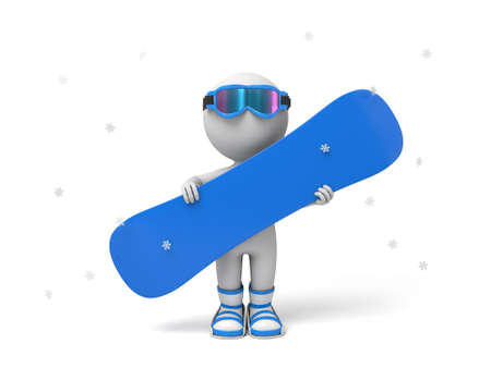 3d people with a snowboard. 3d image. Isolated white background. Stock Photo